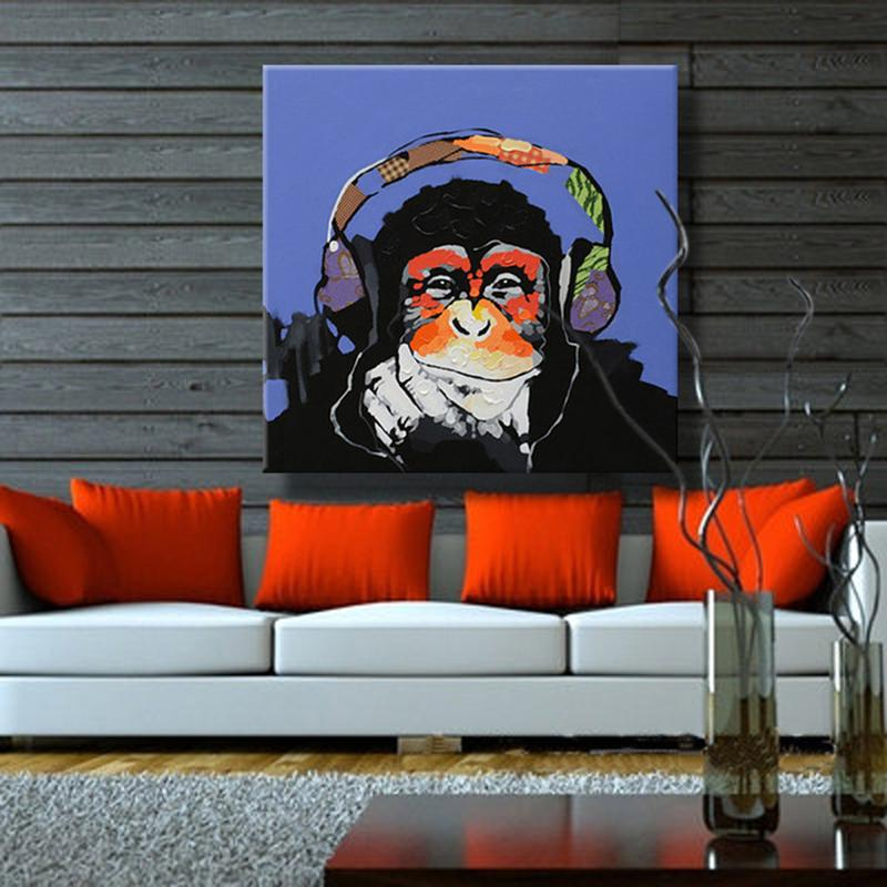 Modern Hand Painted Abstract Animal Monkey Oil