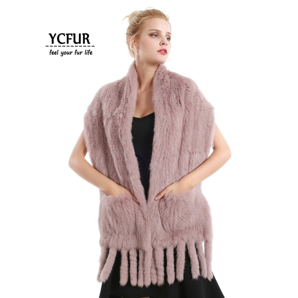 YCFUR 160 cm Women Scarf Shawl Winter Warm Knitted Rabbit Fur Scarves Shawls With Tassels Thick