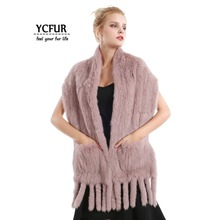 YCFUR 160 см, женский шарф, шаль, зимний теплый кроличий мех, шарфы, шали с кисточками, толстый меховой длинный шарф, глушитель для девушек