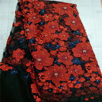 New African Lace Fabric 2017 Embroidered Nigerian Laces Fabric Red Black High Quality French Tulle Lace