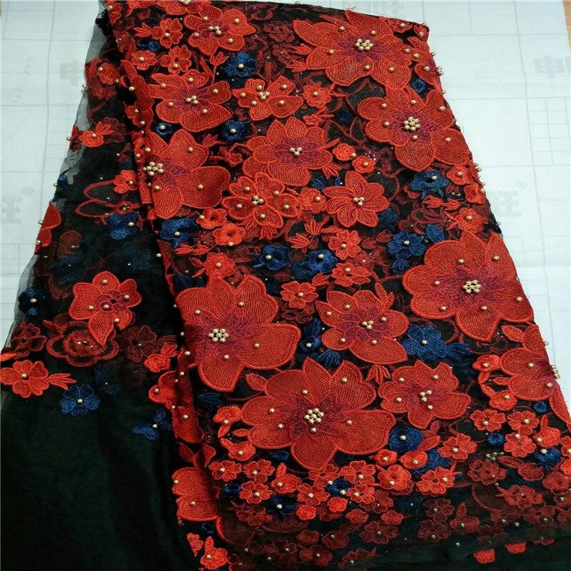 Nueva tela de encaje africano, tela de cordones nigerianos bordada 2017, tela de encaje de tul francés de alta calidad negro rojo para encaje de boda-in encaje from Hogar y Mascotas    1