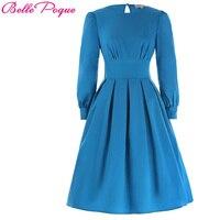 2017 New Retro Vintage Autumn Women Dress Deep Sky Blue Boat Neck Female Ball Gown Rockabilly