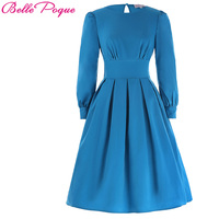 2017 New Retro Vintage Autumn Women Dress Deep Sky Blue Boat Neck Female Ball Gown Rockabilly