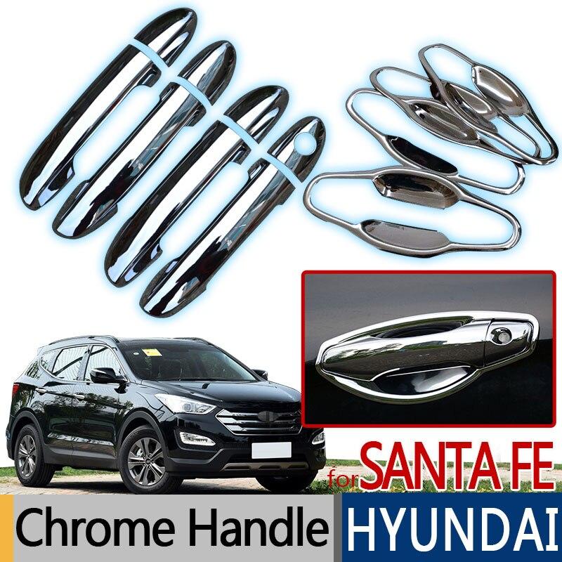 For Hyundai Santa Fe IX45 Accessories Chrome Trim Exterior Door Handle Covers 2013 2014 2015 2016 2017 Car Styling Stickers DM