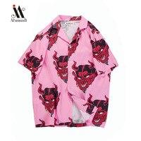 2019 New Shirts Men hawaiian shirt Summer beach short sleeve men's cotton printed shirt Street Men's Shirts Pink /Purple