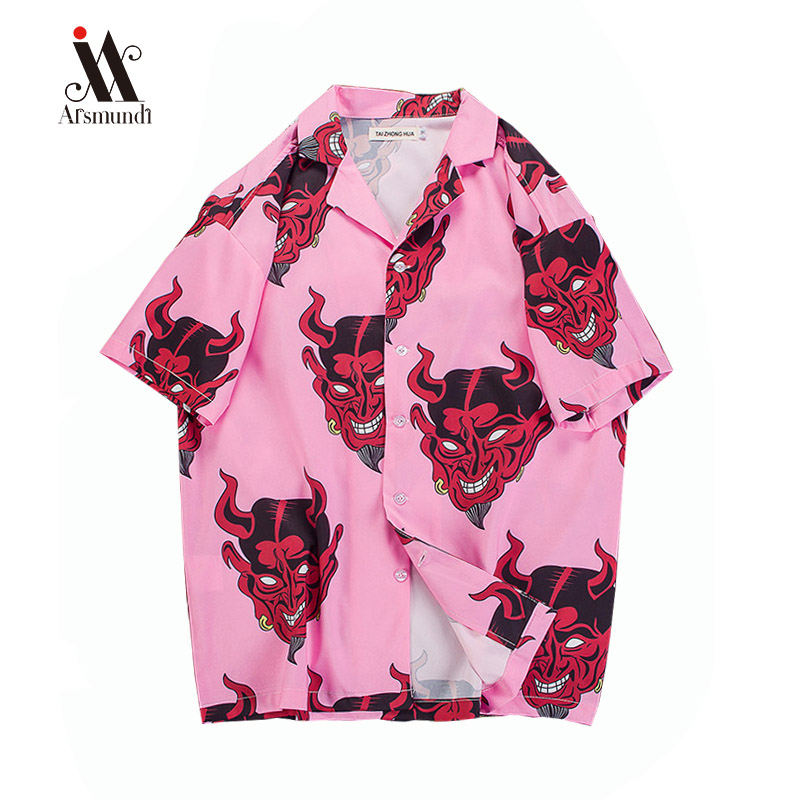 Hip Hop Streetwear Shirts Men Devil Full Printing Short Sleeve Summer Floral Rapper Harajuku Loose Hawaiian Korean Shirt