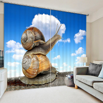 Small Window Curtain | Small Animals Snail Personalized Custom Digital Arts Digital 3D Blackout Curtains Finished