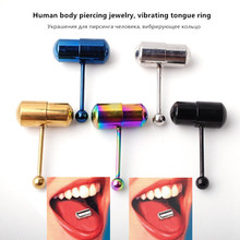 2 pieces of body piercing jewelry, vibrating tongue ring, plated stainless steel with button battery ring