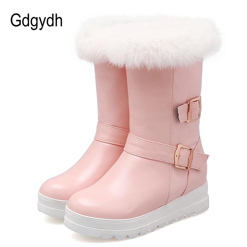 53d966534 Gdgydh 100% Piel auténtica mujeres invierno Zapatos moda hebilla felpa  caliente señoras Botas de nieve frío invierno ruso más tamaño 43 en Botas  de nieve de ...