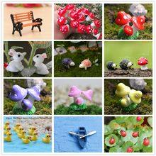 Minisetas Rojas, conejos, patos, Tortuga, ornamento de jardín, hada de las Macetas en miniatura, miniaturas de espuma, suministros de jardín