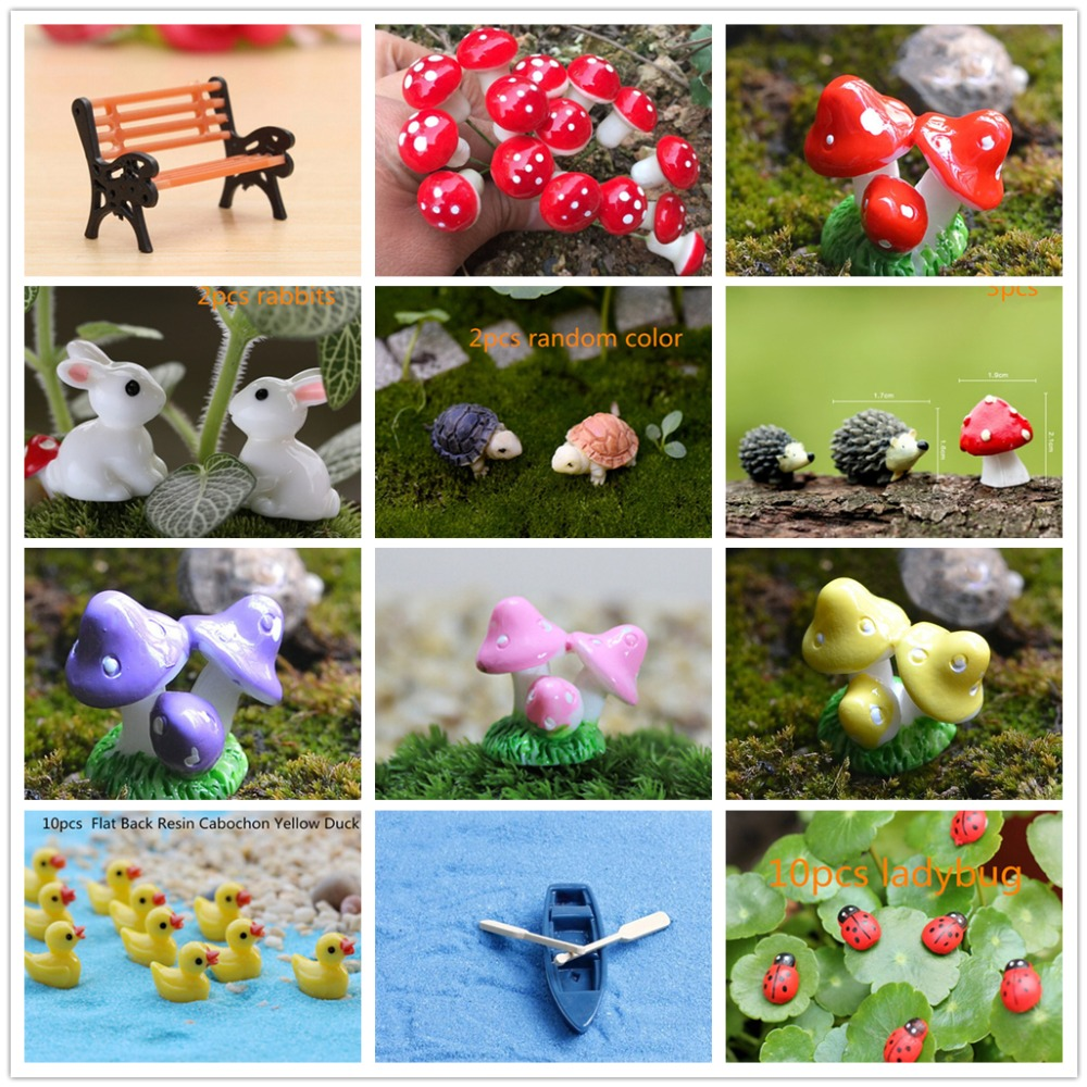 Mini Red Mushroom Rabbits Ducks Tortoise Garden Ornament Miniature Plant Pots Fairy Micro Miniatures Foam Fairy Garden Supplies