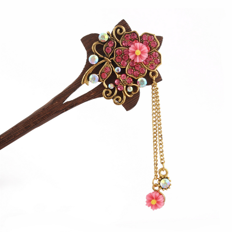 2018 Retro national winds Leaf shape natural Phoebe zhennan Zircon Hair sticks Chinese style Fashion jewelry For women nmfz-013