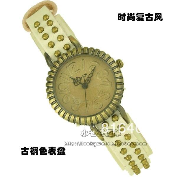 Free shipping vintage antique brass Quartz Ladies watch genuine leather with rivet
