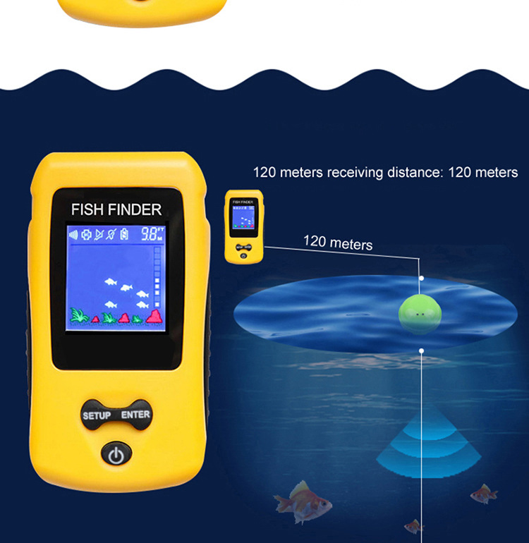 easy use Rechargeable Wireless Remote Sonar Sensor 120M water depth High Definition LCD fishing fish finder 2019 popular