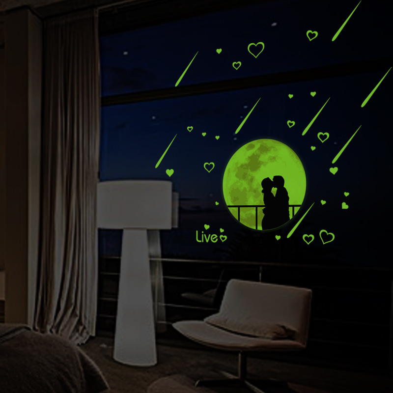 Creative wall stickers meteor shower moonlight love bedroom living room background decoration luminous wall stickers
