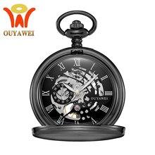 OYW бренд из нержавеющей стали мужские модные повседневные карманные часы Скелет циферблат черный ручной Ветер Механические Мужские Fob часы на ремешке с цепочкой
