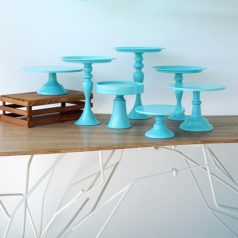 7 pcs Blue cake stands set for baby boy birthday shower cupcake holder tray wedding dessert table pops party supplier