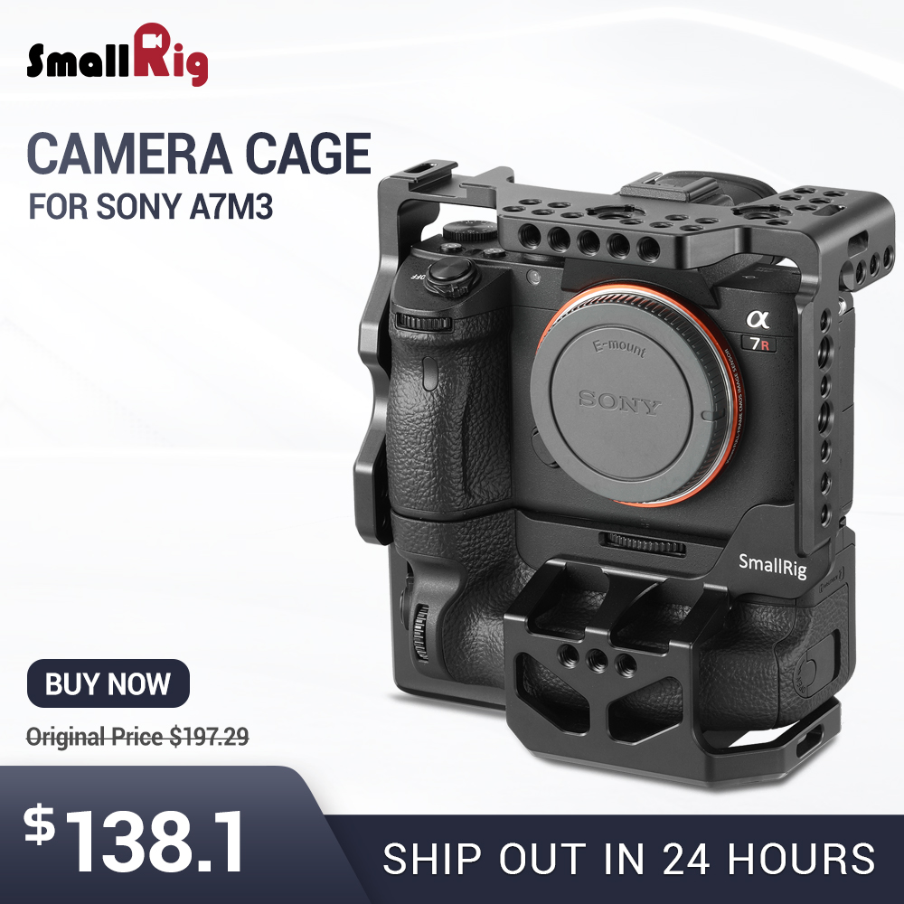 SmallRig A73 Camera Cage for Sony A7R III / A7M3 / A7 III with VG-C3EM Vertical Grip 2176