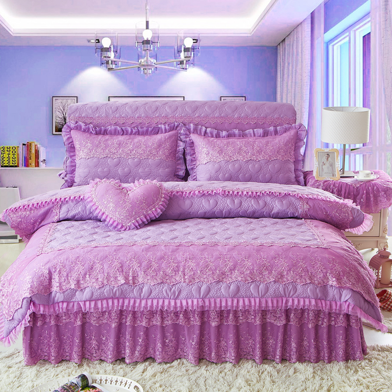 4Pcs Quilting lace Princess style luxury bedding sets queen king size duvet cover set bed skirt set pillowcase bedclothes4Pcs Quilting lace Princess style luxury bedding sets queen king size duvet cover set bed skirt set pillowcase bedclothes