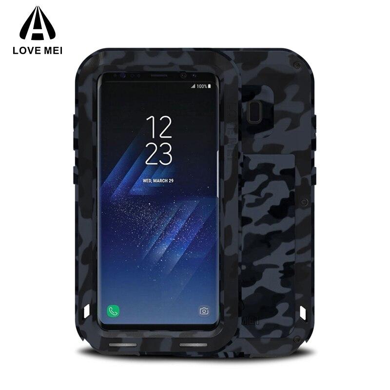 Étui pour Samsung Galaxy S8 S8 Plus en métal Camouflage LOVE MEI Plus couvercle d'armure en aluminium pour Samsung S8 S8Plus puissant antichoc Capa