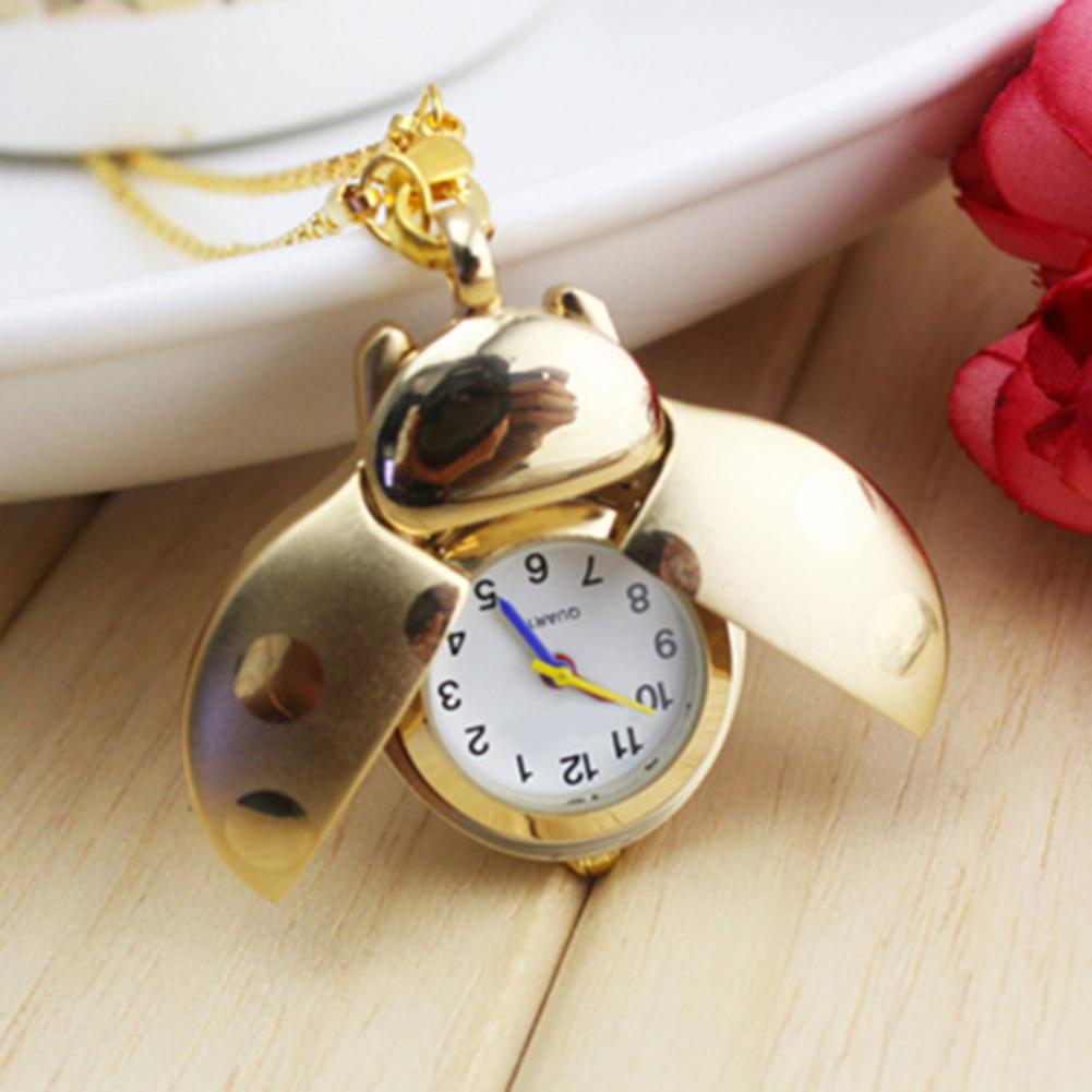 New Retro Beetle Ladybug Shape Quartz Pocket Watch Necklace Pendant Unisex Gifts Hot