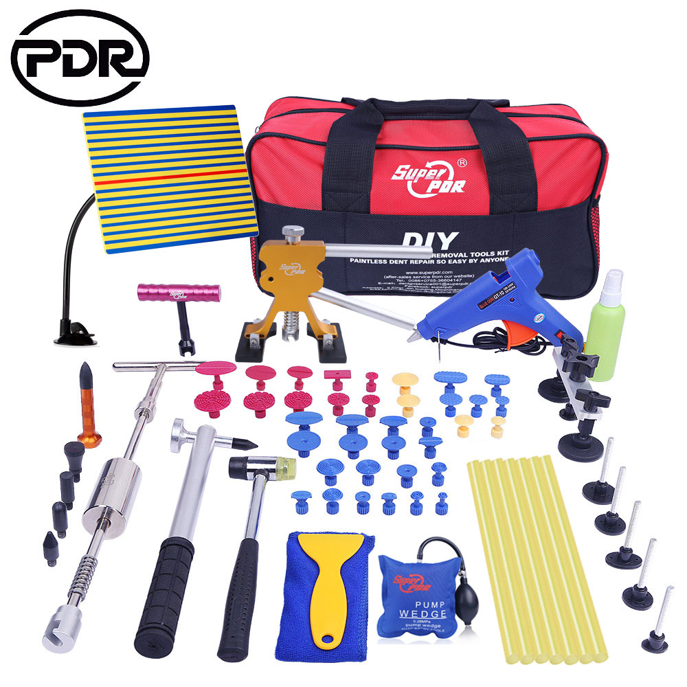PDR Car Tool Kit Tools Auto Repair Body Dent Remover Repair Tools Set Dent Puller Bodywork Panel Repair Kit With Glue Tabs quality 9 in 1 flexible hose clamp plier kit pliers tool set with case auto vehicle tools cable wire long reach car repair tools