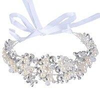 BELLA Thời Trang Đa Pearls Satin Ribbon Hairband Tinh Ngà Ngọc Trai Mô Phỏng Bridal Head Tiara Crown Cho Đám Cưới Đảng
