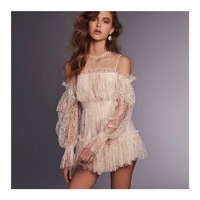 Women White Lace Playsuit 2018 Runway Off the shoulder Long sleeve See Though Mesh Overalls Luxury Ruffle Tunic Short Jumpsuit
