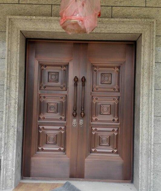 Bronze Door Security Copper Entry Doors Antique Copper Retro Door Double Gate Entry Doors H-c21
