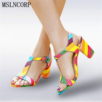 Plus Size 34 44 Summer Patent Leather Women Sandals Fashion Square High Heels Ladies Pumps Sexy