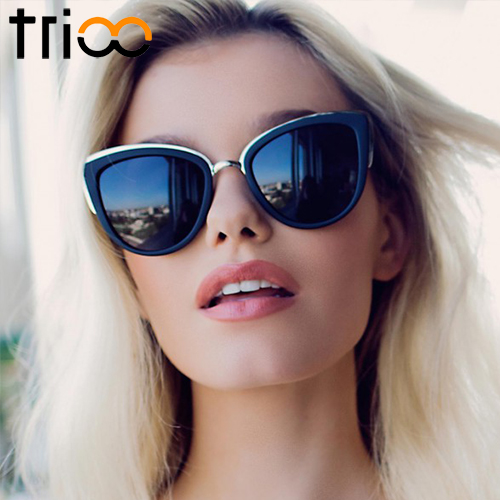 TRIOO Sunglasses Women Mirror Color Shades Luxury Cat Eye Oculos Mirror Pink Color Lens Sun Glasses For Women Gafas