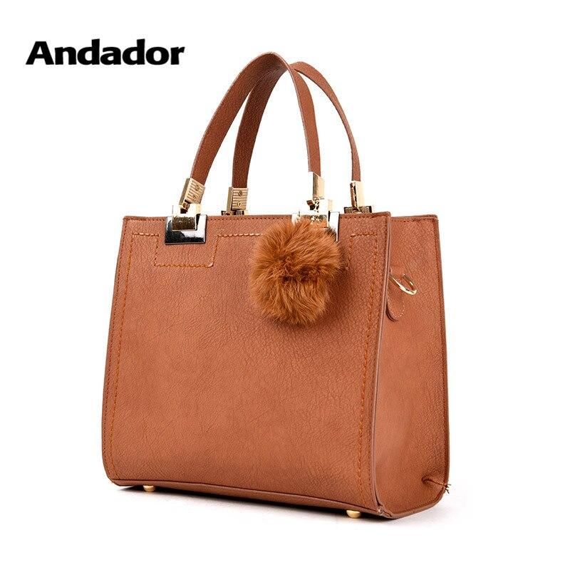 New fashion pu women shoulder bag hair ball female handbag large capacity women's handbags high quality casual ladies bags 2019