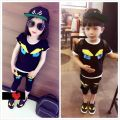 2016 new sport & leisure style children sets little monsters pattern boys and girls Short sleeve & fifth pants