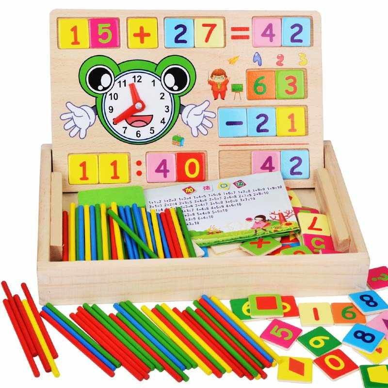 Multipurpose Math Counters Skill and Drawing Box - Preschool Learning and Teaching Aids - Wooden Educational Toys