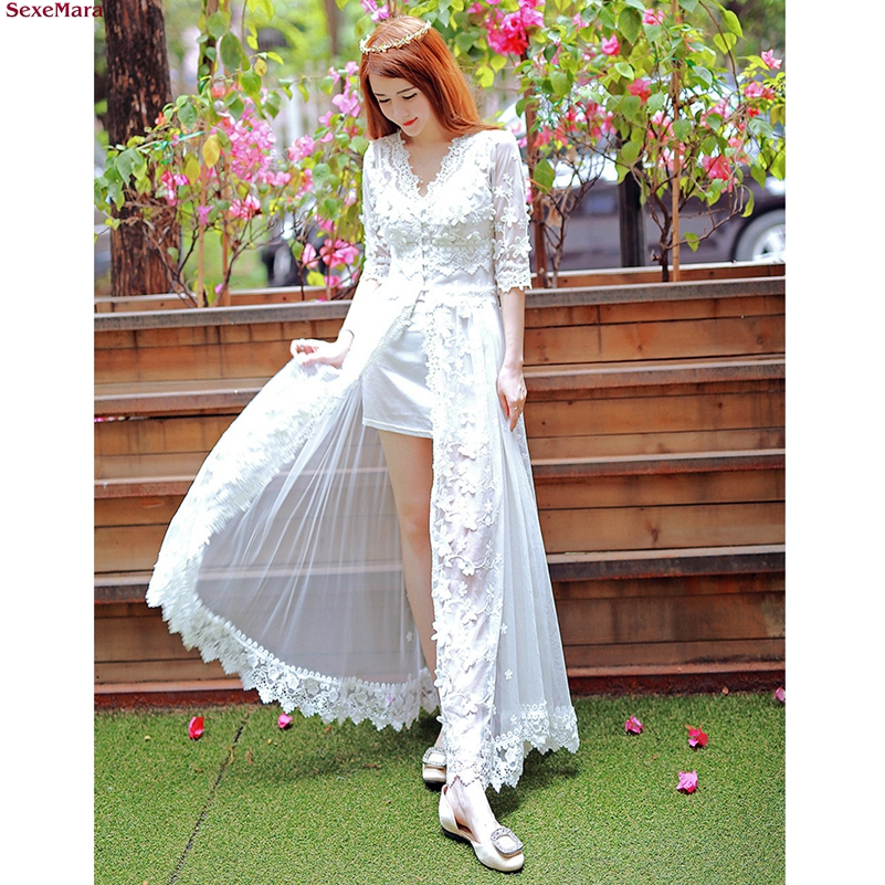 SexeMara Fashion The New Split ends Three dimensional embroidery Lace Net yarn Two piece suit dress