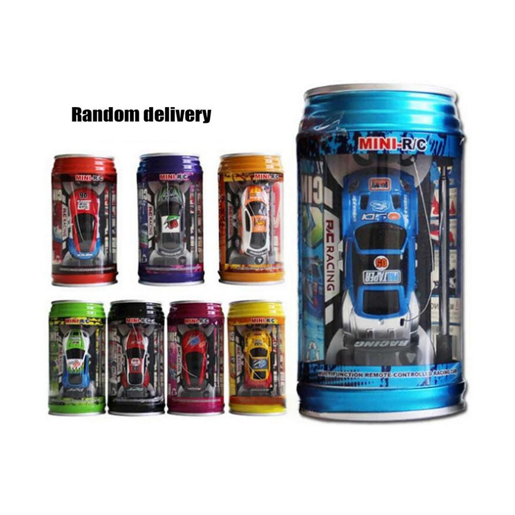 Original 1 : 64 Coke Can Mini Speed Radio Remote Control Micro Car Road Blocks RC Toys Kids Toys Christmas Gifts Color Random
