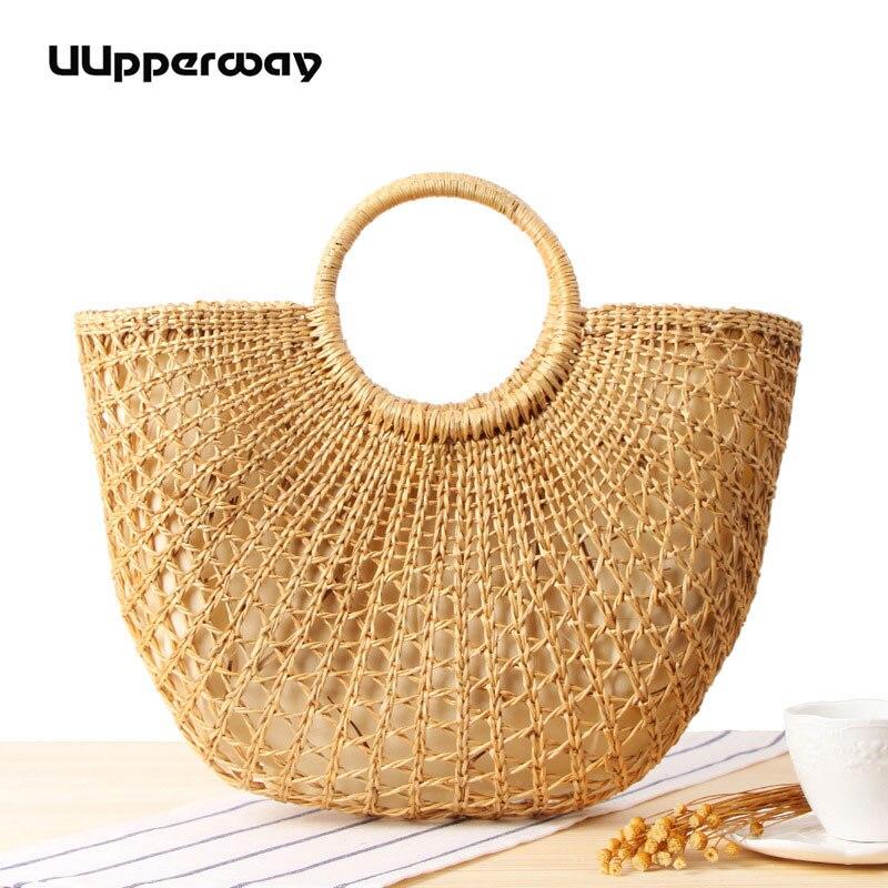 Femmes sac bohème été plage sac Top poignée tricoté sac à main pour voyage vacances coloré boule de fourrure paille sac lune forme sacs