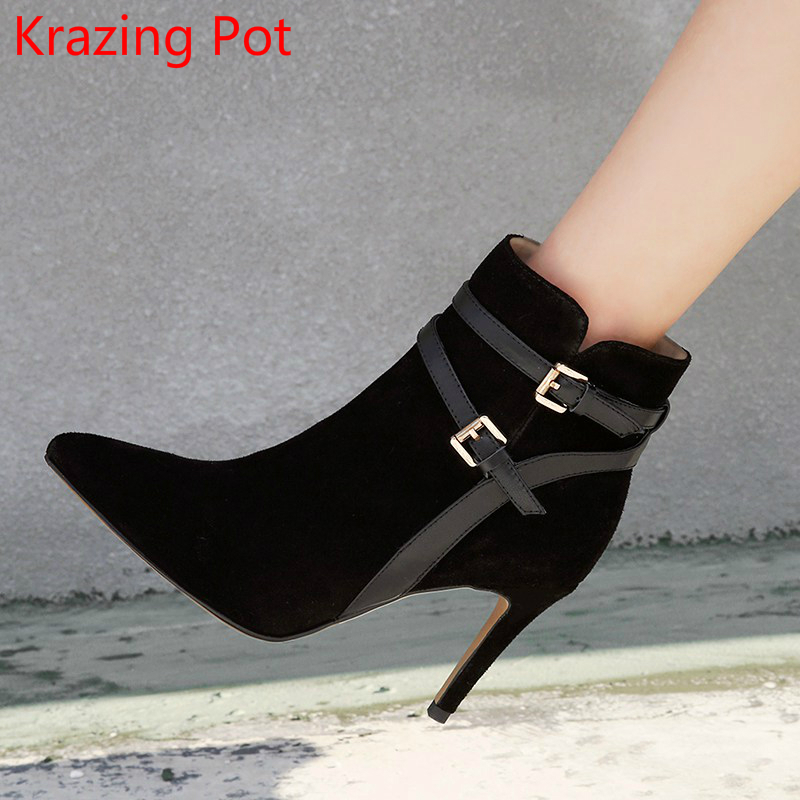 2018 New Arrival Cow Suede Cow Leather Winter Boots Pointed Toe Buckle High Heels Office Lady Nightclub Women Ankle Boots L05 krazing pot cow suede real leather autumn winter pointed toe buckle thick high heels women office lady tassel ankle boots l05