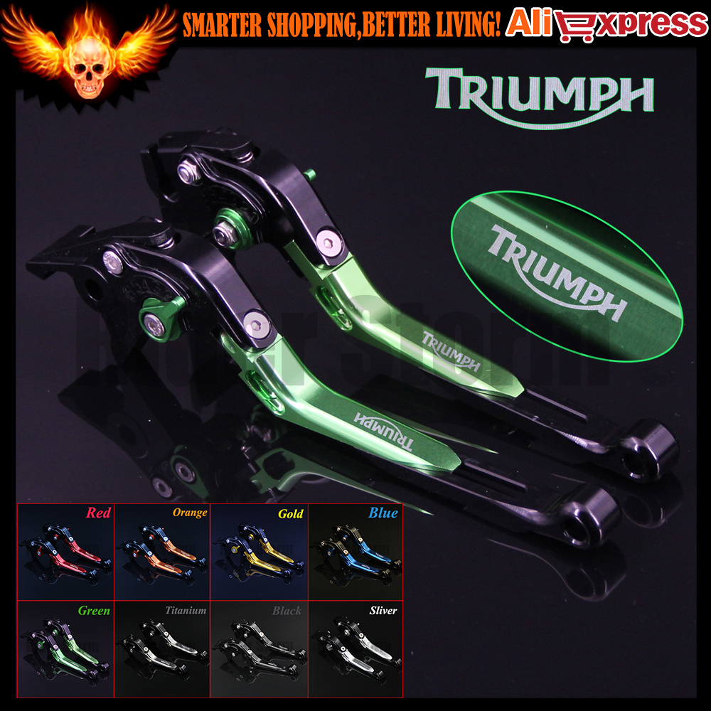 ФОТО Green+Black 8 Colors CNC Adjustable Folding Extendable Motorcycle Brake Clutch Levers For Triumph SPEED TRIPLE 2008 2009 2010