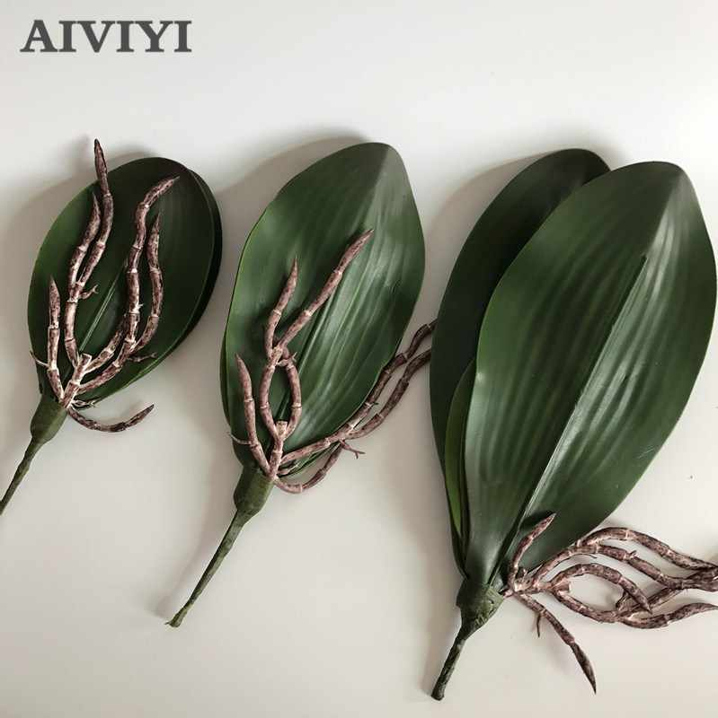 Nieuwe Kunstmatige bloem Orchidee leaveshigh kwaliteit PU lijmen textuur bladeren DIY potplanten bloemstukken