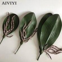 חדש מלאכותי פרח סחלב leaveshigh באיכות PU הדבקת מרקם עלים DIY עציצי סידורי פרחים