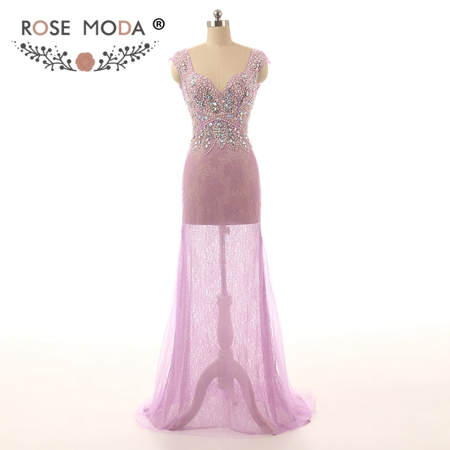 Rose Moda Sexy See Through Crystal Beaded Lilac Lace Prom Dresses ...