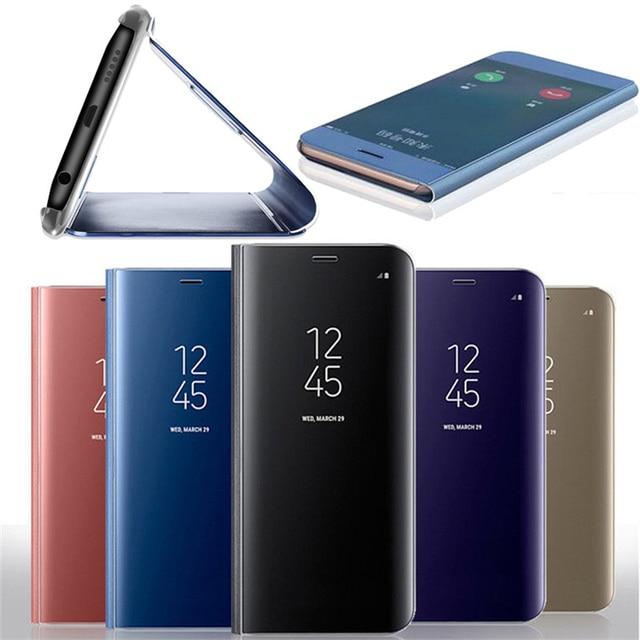 الصمام عرض الوقت الرؤية غطاء غطاء ذكي جراب هاتف حافظة للبطاقات لسامسونج S8 S9 S6 S7 زائد سليم فليب الذكية واضح مرآة