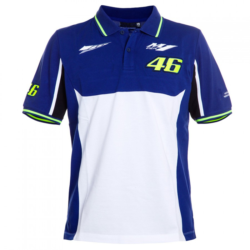 Prix pour Livraison gratuite 2017 GPFORTYSIX MotoGP VR46 Double Polo pour Valentino Rossi fans Le Médecin T-shirt Bleu Blanc EURO taille S-XL