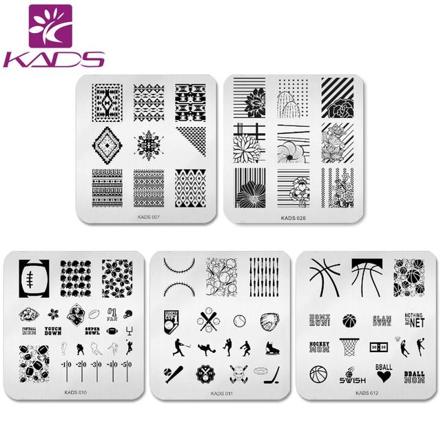 KADS 5pcs/set Elegant Flower Design Nail Art Stamp Template - stamp template
