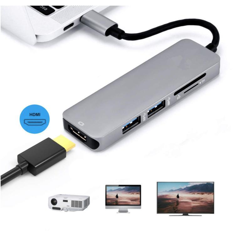 DSstyles Type-C USB 3.1 Multiport Adapter USB-C to HDMI 4K HD USB 3.0 Hub 2-Port SD TF Card Reader Converter Cable for Macbook