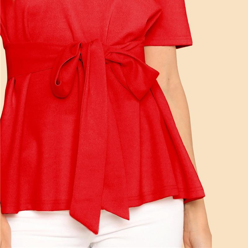 Sheinside Self Belt Keyhole Back Blouse Solid Short Sleeve Top 18 Summer Women Office Ladies Work Elegant Blouse 17