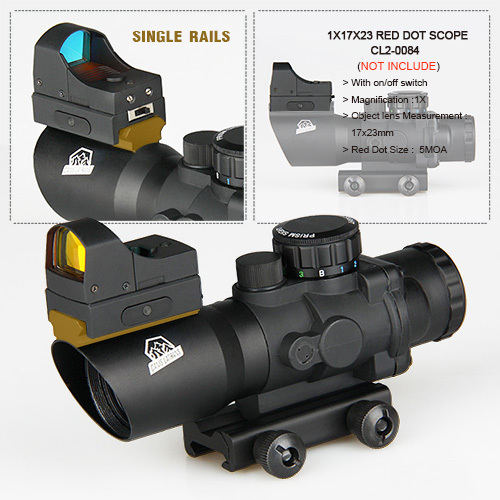 new arrival good quality 4x32 rifle scope with mini red dot For Hunting CL1-0289 best quality good m3 type red dot hunting scope collimator sight rifle reflex for shooting
