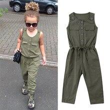 Одежда для маленьких девочек; Однотонный Летний комбинезон без рукавов на пуговицах с карманами; хлопковый комбинезон с круглым вырезом для новорожденных