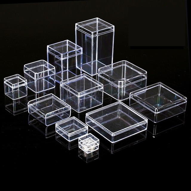 10 X Many Sizes Small Square Clear Ps Plastic Storage Bo For Mini Jewelry Beads